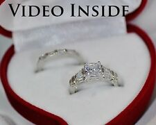 Royal*2Pcs Ring Set Engagement Ring Wedding Ring Platinum Made In Italy