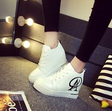 Womens Fashion Hidden Wedge Lace Up Platform Sneakers Ankle Boots Shoes Casual