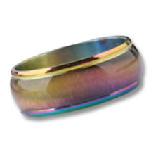 Pride Shack - Anodized Rainbow Beveled Ring - LGBT Lesbian Gay Pride Ring Steel