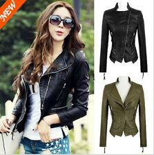Fashion Womens Punk Studded Shoulder PU Faux Leather Jacket Coat Jacket Size XY