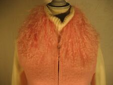 Vest with Mongolian Lamb Fur Collar 100% Wool Pink Sz S