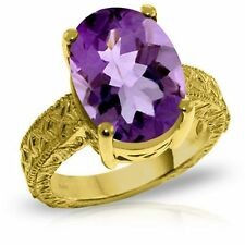 Genuine Amethyst 7.5 ct Oval Gemstone Solitaire Ring 14K. Yellow White Rose Gold
