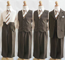 Dark Brown/taupe shirt wedding party toddler youth boy formal suit all sizes