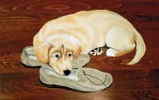 Golden Retriever Puppy Print Puppy With Slipper Dog Breed Art Ready To Frame