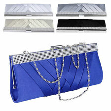 Bridal Satin Crystal Evening Party Wedding Clutch Bag Handbag Shoulder Purse#119