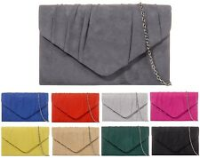 Ladies Suede Style Envelope Clutch Bag Pleated Evening Bag Party Handbag W308