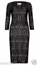 NEW Ex PER UNA Black Lace Shift Dress 3/4 Sleeve Scoop Neck Party Size 10 - 24