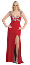 TheDressOutlet Beaded Plus Size Formal Prom Dress Stretch Jersey Evening Gown