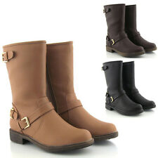 WOMENS FLAT LOW HEEL LEATHER STYLE BIKER BUCKLE LADIES CALF RIDING BOOTS SIZE