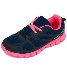 LADIES GIRLS NAVY PINK TRAINERS SPORTS LACE JOGGING RUNNING GYM CASUAL SHOES 3-8