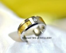 *NEW*  Rare Mens Womens Tungsten Carbide & 18K Gold Inlay