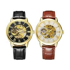 Mens Skeleton Hollow Watch Mechanical Hand-winding Leather Strap Wrist Watches