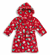 Unisex Boys Girls Christmas Xmas Dressing Gown Robe Hooded Navy Blue Pink Red
