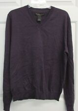 NWT BLOOMINGDALES THE MENS STORE LIGHTWEIGHT MERINO WOOL V-NECK SWEATER GRAPE