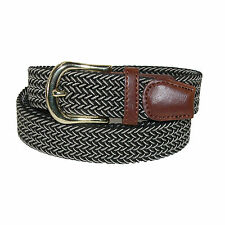 New CTM Men's Elastic Stretch Two Tone Belt with Gold Buckle