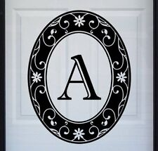 """New 15""""x19"""" Black Oval MONOGRAM STATIC CLING DECAL for Glass Doors & Windows"""