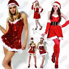 WOMENS LADIES ADULT SANTA COSTUME FANCY DRESS CHRISTMAS XMAS MISS SEXY OUTFITS