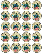 30-90 PRE-CUT EDIBLE WAFER CUP CAKE TOPPERS SHABBY CHIC PEACOCK BEAUTIFUL