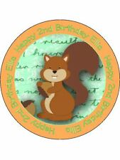 30-90 PRE-CUT PERSONALISED EDIBLE WAFER CUP CAKE TOPPERS SQUIRRELL WOODLAND