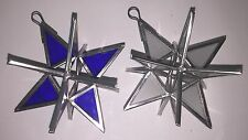 """Moravian Star Glass Christmas Tree Holiday Ornaments 4"""", Cobalt Blue, Frosted"""