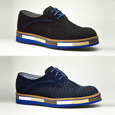 New Mens Shoes Black Blue Suede Brogue Lace Up Oxford Smart Casual 6 7 8 9 10 11