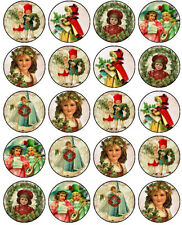 30-90 PRE-CUT EDIBLE WAFER CUP CAKE TOPPERS A VICTORIAN CHRISTMAS VINTAGE KIDS