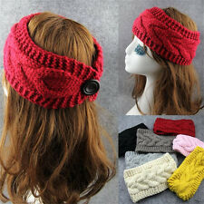 New Crochet Knitted Headband Flower Winter Women Ear Warmer Headwrap Knit Hat