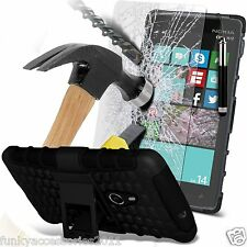 Shock Proof Dual Layer Case✔Tempered Glass LCD Guard for Nokia Lumia 830