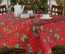 CHRISTMAS TABLECLOTH, HOLIDAY DESIGN, POINSETTIA OR CHERUB