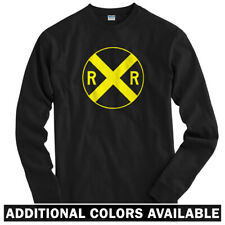 Railroad Crossing Long Sleeve T-shirt LS - RR Train Hobby Sign - Men / Youth