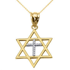 14k Solid Gold Jewish Israel Star of David with Diamond Cross Pendant Necklace