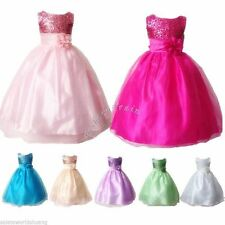 Flower Girl Princess Wedding Pageant Birthday Party Formal Sequins Dress SZ 4-14