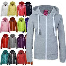 New Womens Ladies Hoodie Plain Zip Up Hooded Top Jacket Size S M L XL 8 10 12 14