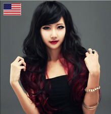 New Sexy Lady Black Red Women Full Long Curly Wavy Hair Hot Cosplay Party Wigs