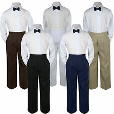 3pc Boy Suit Set Navy Blue Bow Tie Baby Toddler Kid Formal Shirt Pants S-7