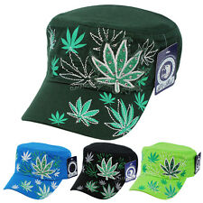 Marijuana Leaf Glitter Rhinestone Cadet Castro Hat Bling Adjustable Cap
