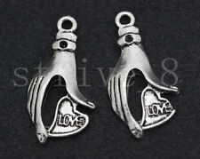 New 10/40/200pcs Antique Silver Hand Love Jewelry Finding Charms Pendant 30x15mm