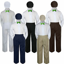 4pc Boy Suit Set Lime Green Bow Tie Baby Toddler Kid Formal Hat Pants S-7