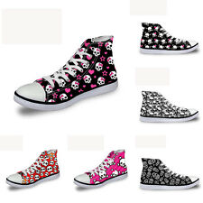 Skull Womens Girls Lace-up High Top Comfy Ankle Sneakers Casual Canvas Shoes New