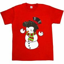 Snowman With Elvis Presley Type Quiff Hair Smiling Christmas Music Mens T-Shirt