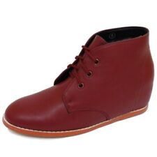 LADIES DOLCIS BURGUNDY DESERT HIDDEN WEDGE LACE-UP ANKLE BOOTS SHOES SIZE 3-8