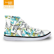 Floral Canvas Lace-up women's Lady Casual Shoes Trendy High Top Shoes Sneakers