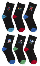 6 Pair Childrens Kids Boys Rubber Print Socks Cotton Video Game Football