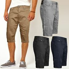 MENS AMALGA CROSSHATCH CHINO SHORTS BOYS KNEE LENGTH SUMMER CARGO COMBAT PANTS