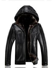 Fashion Men's Synthetic sheepskin stand collar hooded wool lining  jacket coats