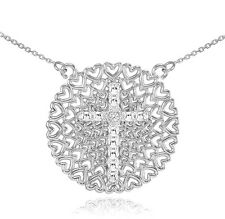 14k White Gold Filigree Heart Cross Diamond Pendant Necklace