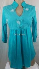 Womens Maternity Shirt Top Teal Blue 3/4 Sleeve Blouse Size S M New