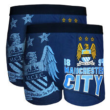 Manchester City Football Club Official Gift 2 PAIR Pk Mens Crest Boxer Shorts