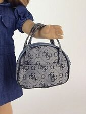 "Doll Clothes AG 18"" Purse Tote Grey Black Made For American Girl Dolls"