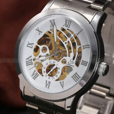 SHENHUA Mens Stainless Steel Luxury Automatic Mechanical Skeleton Wrist Watch